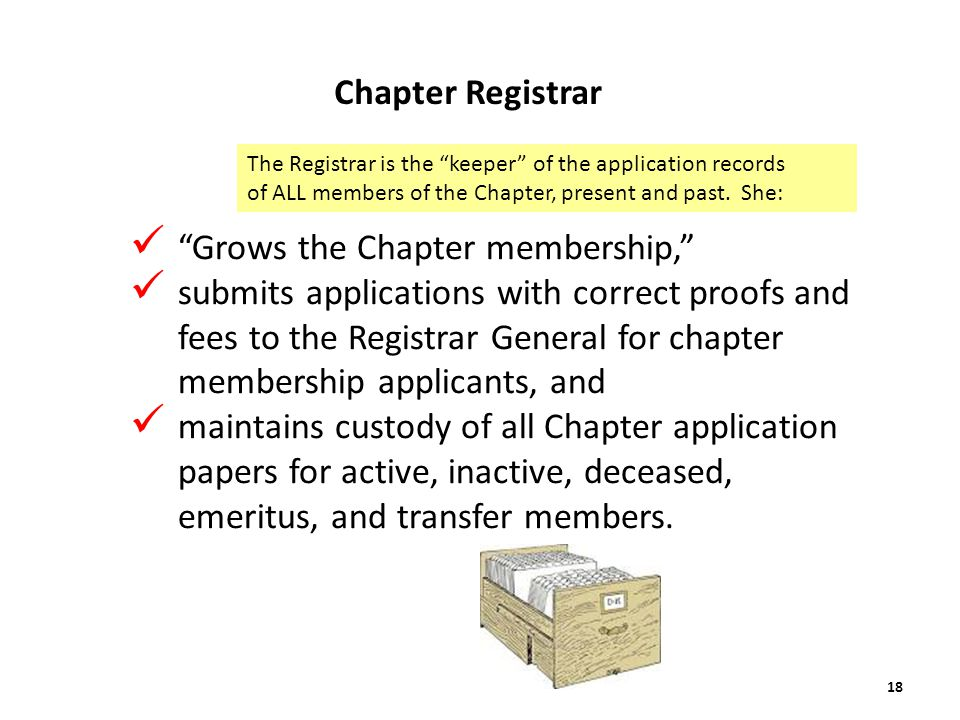Grows the Chapter membership, submits applications with correct proofs and fees to the Registrar General for chapter membership applicants, and maintains custody of all Chapter application papers for active, inactive, deceased, emeritus, and transfer members.