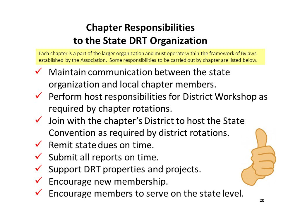 Chapter Responsibilities to the State DRT Organization Maintain communication between the state organization and local chapter members.