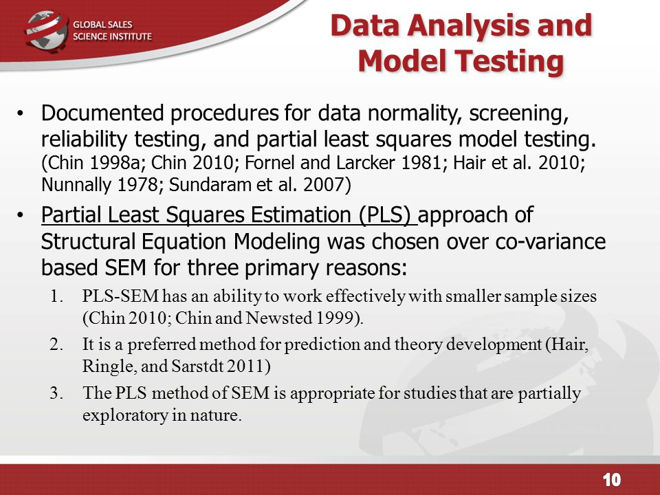 Data Analysis and Model Testing Documented procedures for data normality, screening, reliability testing, and partial least squares model testing. (Ch