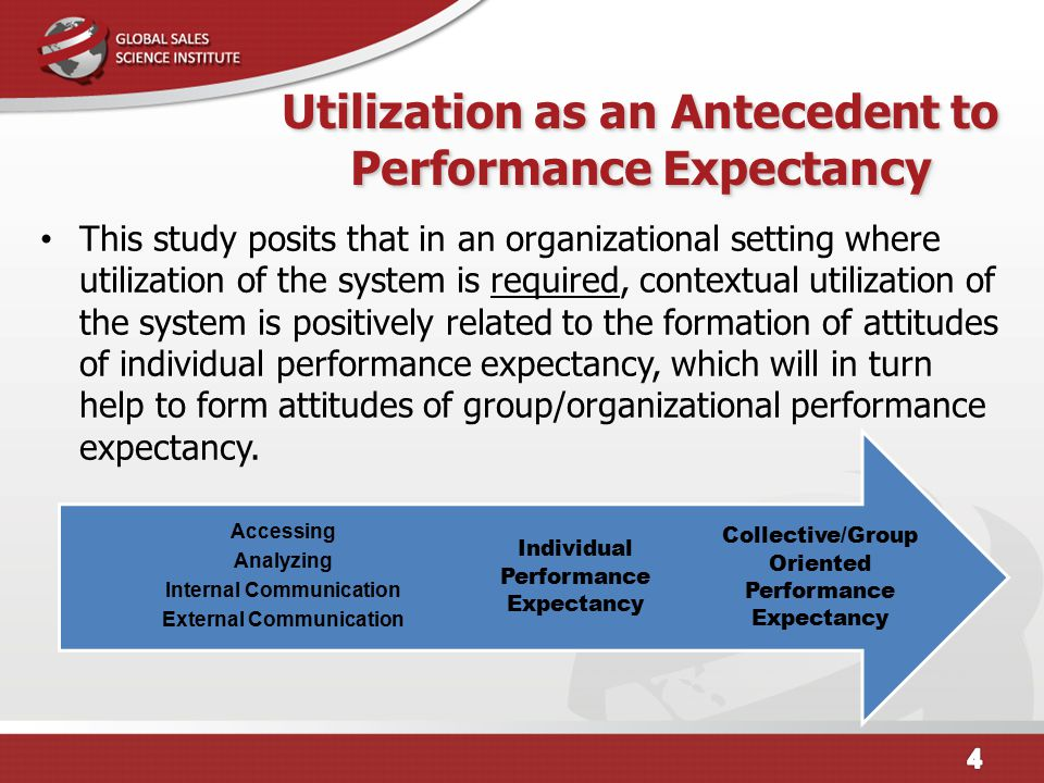 Utilization as an Antecedent to Performance Expectancy This study posits that in an organizational setting where utilization of the system is required