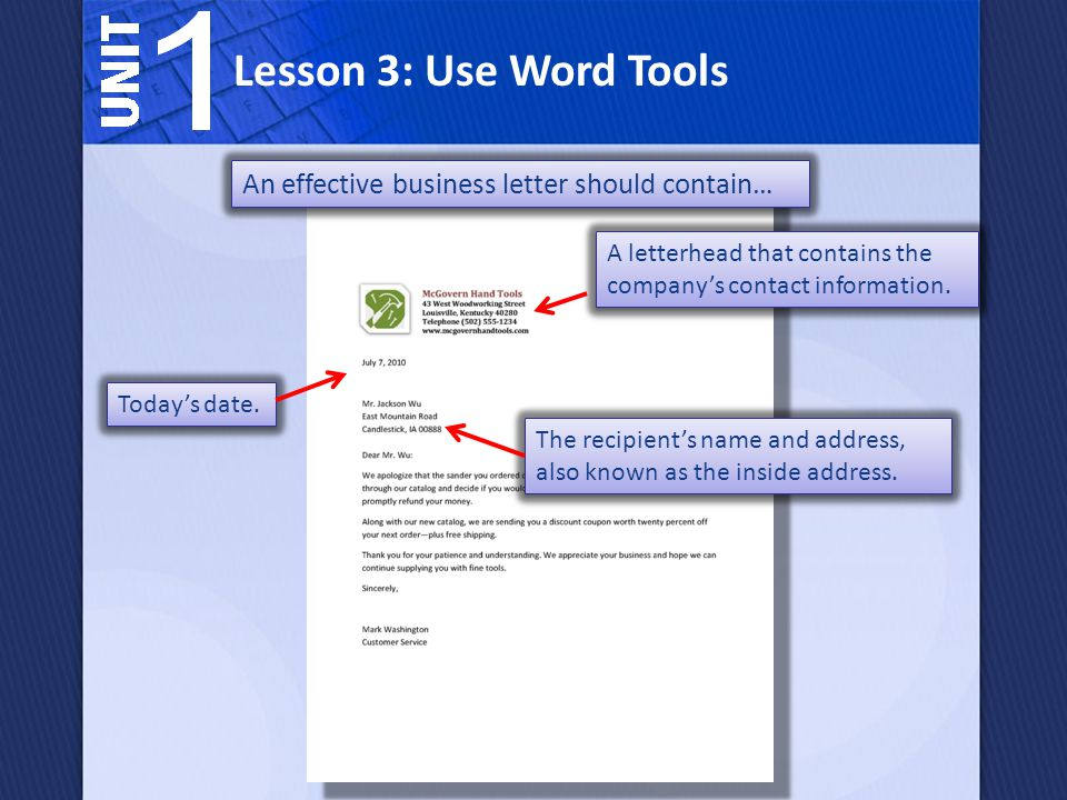 Which Word tool can you use to help you create a professional business letter.