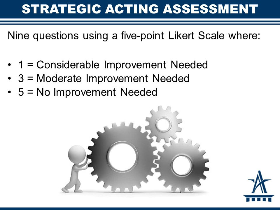 Nine questions using a five-point Likert Scale where: 1 = Considerable Improvement Needed 3 = Moderate Improvement Needed 5 = No Improvement Needed