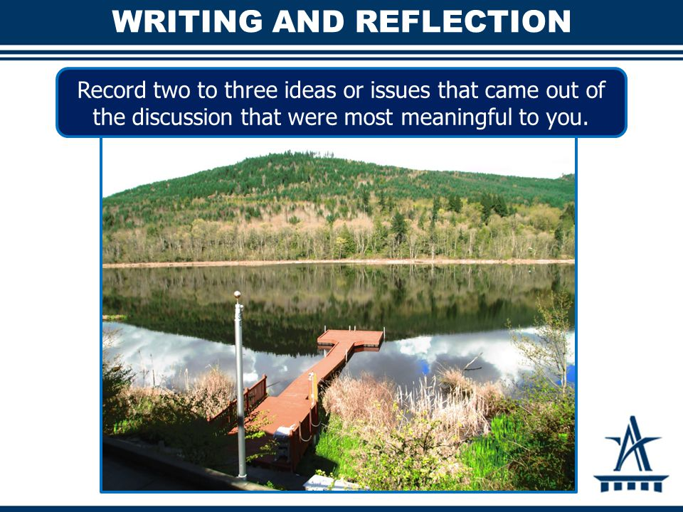 WRITING AND REFLECTION Record two to three ideas or issues that came out of the discussion that were most meaningful to you.