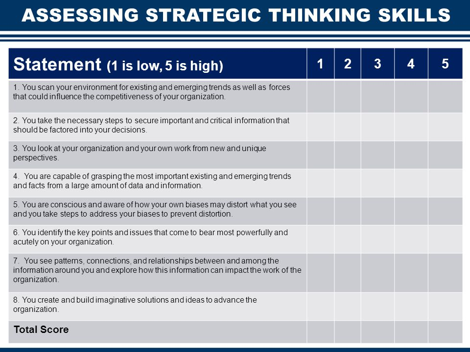 STRATEGIC THINKING The cognitive processes required for the collection, interpretation, generation, and evaluation of information and ideas.