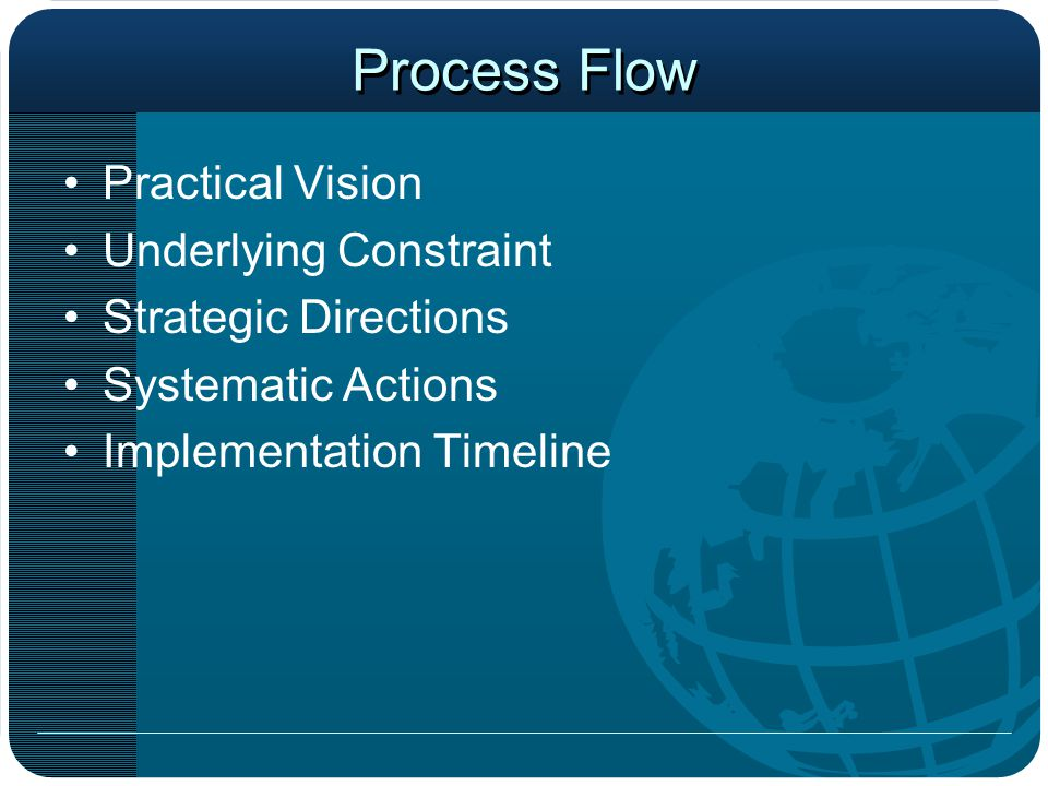 Process Flow Practical Vision Underlying Constraint Strategic Directions Systematic Actions Implementation Timeline