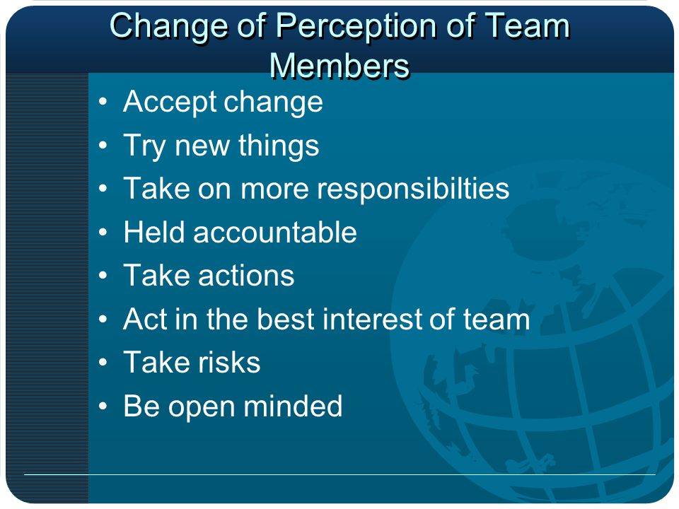 Change of Perception of Team Members Accept change Try new things Take on more responsibilties Held accountable Take actions Act in the best interest of team Take risks Be open minded