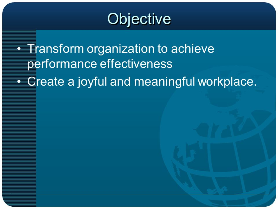 Old Definition of Mission To provide all types of training support services to all employees Our measures of success is based on –Hours of training –Persons trained –Classes delivered –Media Produced –Instructional objectives accomplished –Course catalogs