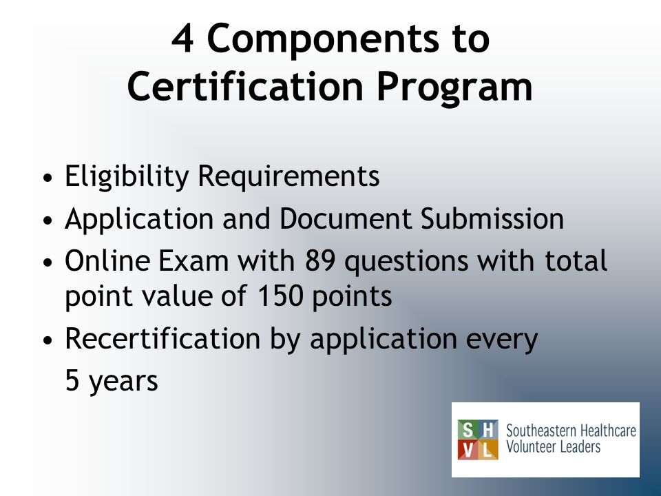 4 Components to Certification Program Eligibility Requirements Application and Document Submission Online Exam with 89 questions with total point valu