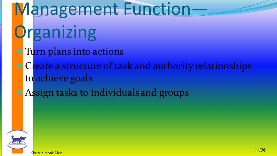 Khusus Mbak Mey 11/36 Turn plans into actions Create a structure of task and authority relationships to achieve goals Assign tasks to individuals and