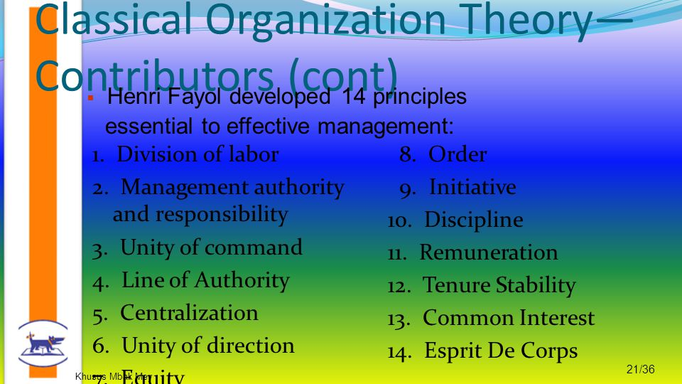 Khusus Mbak Mey 21/36 Classical Organization Theory— Contributors (cont) 1. Division of labor 2. Management authority and responsibility 3. Unity of c