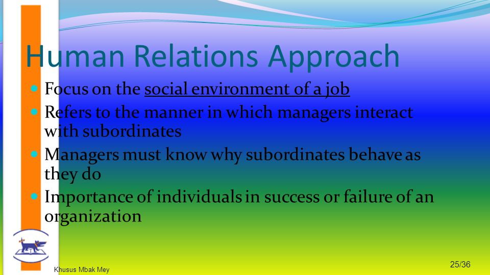 Khusus Mbak Mey 25/36 Focus on the social environment of a job Refers to the manner in which managers interact with subordinates Managers must know why subordinates behave as they do Importance of individuals in success or failure of an organization Human Relations Approach