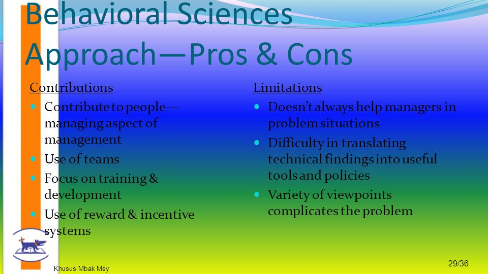 Khusus Mbak Mey 29/36 Behavioral Sciences Approach—Pros & Cons Contributions Contribute to people— managing aspect of management Use of teams Focus on