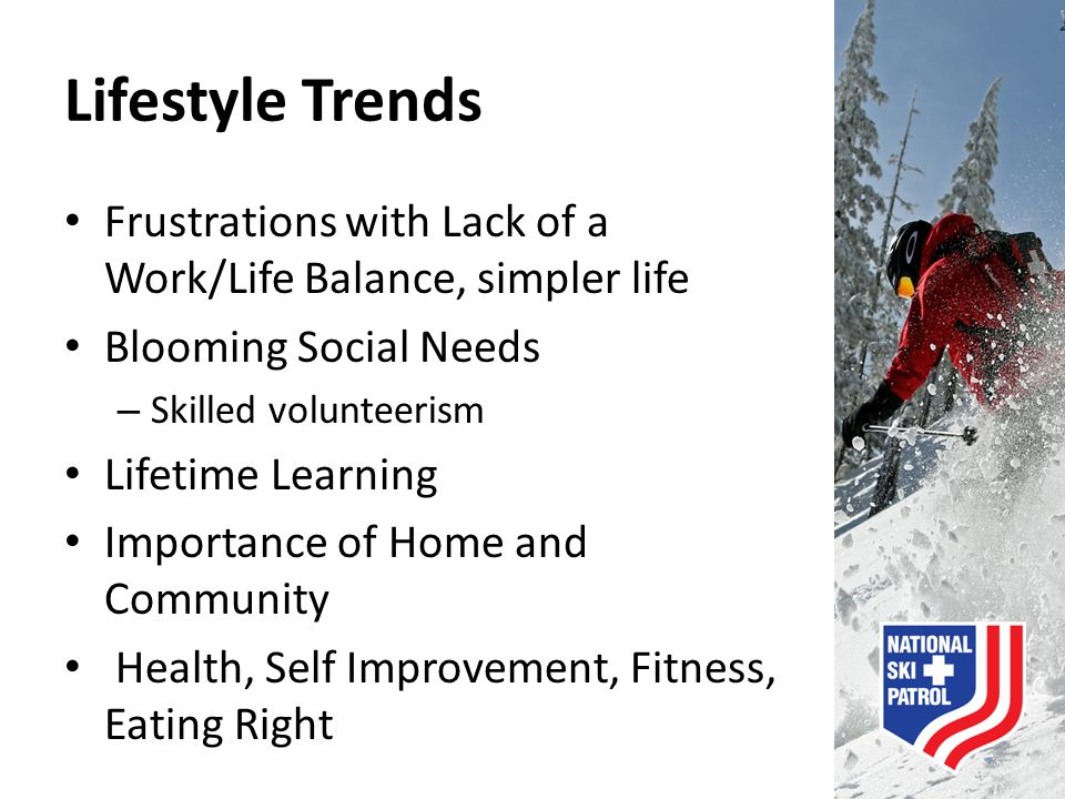 Lifestyle Trends Frustrations with Lack of a Work/Life Balance, simpler life Blooming Social Needs – Skilled volunteerism Lifetime Learning Importance