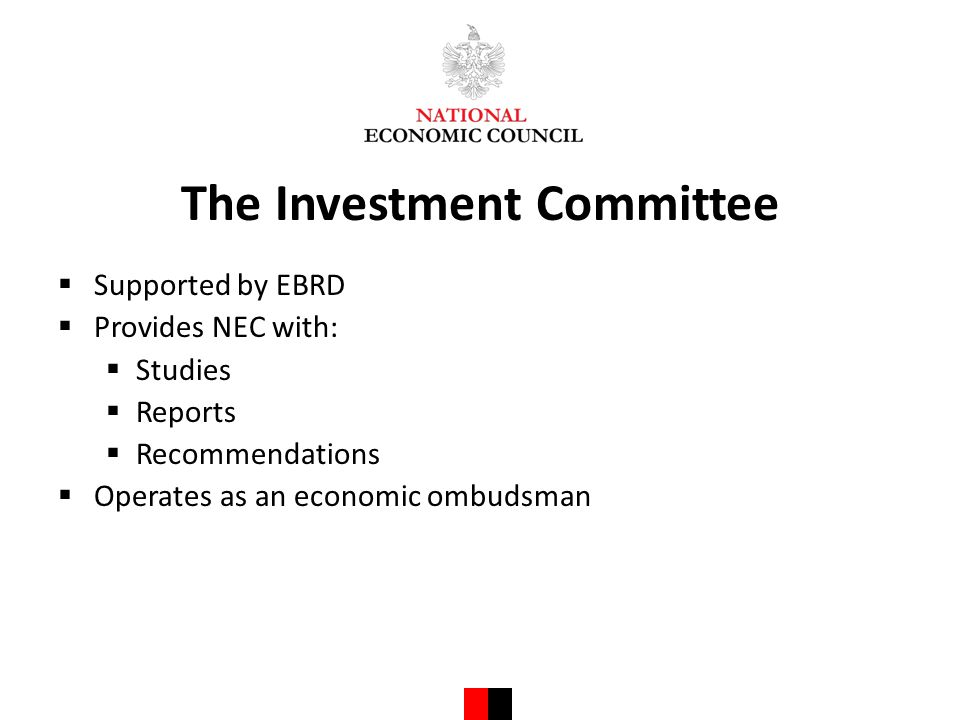 The Investment Committee  Supported by EBRD  Provides NEC with:  Studies  Reports  Recommendations  Operates as an economic ombudsman