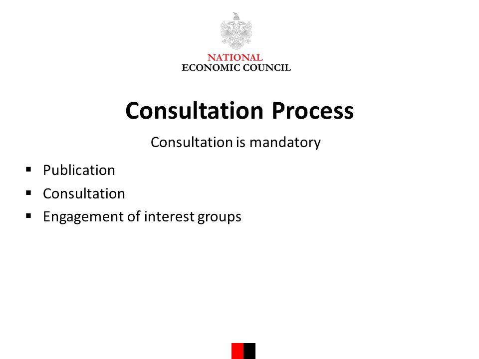Consultation Process Consultation is mandatory  Publication  Consultation  Engagement of interest groups