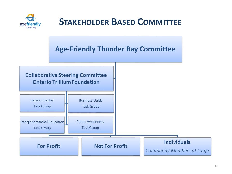 S TAKEHOLDER B ASED C OMMITTEE 10 Age-Friendly Thunder Bay Committee For Profit Not For Profit Individuals Community Members at Large Collaborative Steering Committee Ontario Trillium Foundation Senior Charter Task Group Business Guide Task Group Intergenerational Education Task Group Public Awareness Task Group