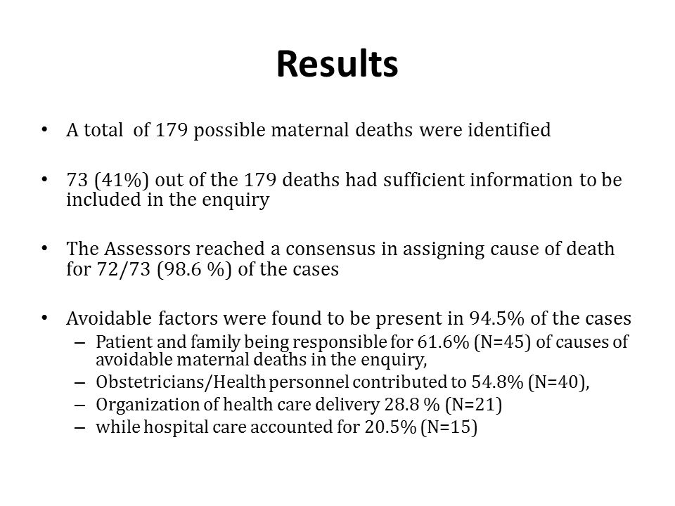 Results A total of 179 possible maternal deaths were identified 73 (41%) out of the 179 deaths had sufficient information to be included in the enquir
