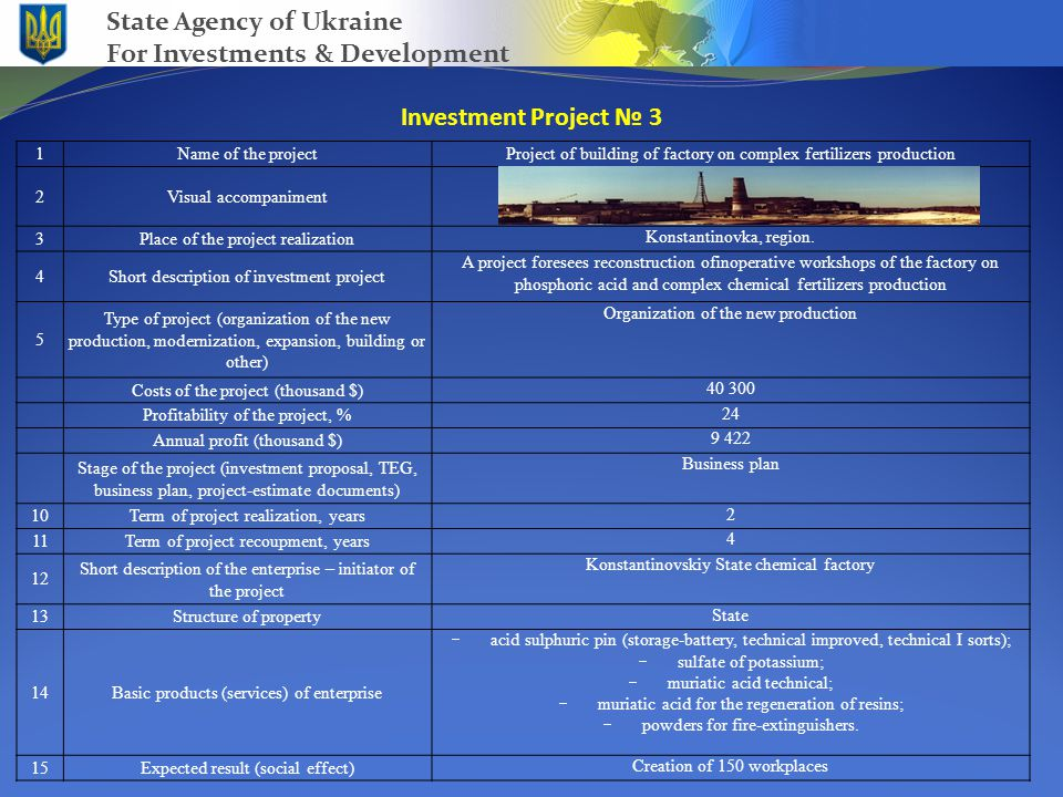 Investment Project № 3 State Agency of Ukraine For Investments & Development 1Name of the projectProject of building of factory on complex fertilizers production 2Visual accompaniment 3Place of the project realization Konstantinovka, region.