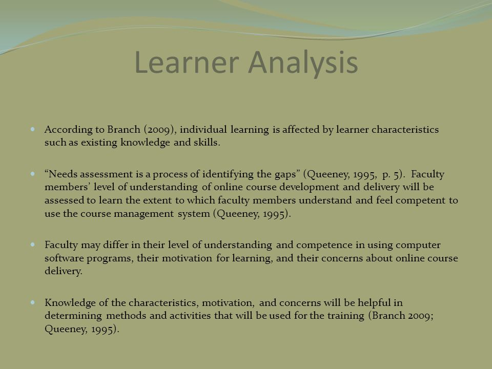 "Learner Analysis According to Branch (2009), individual learning is affected by learner characteristics such as existing knowledge and skills. ""Needs"