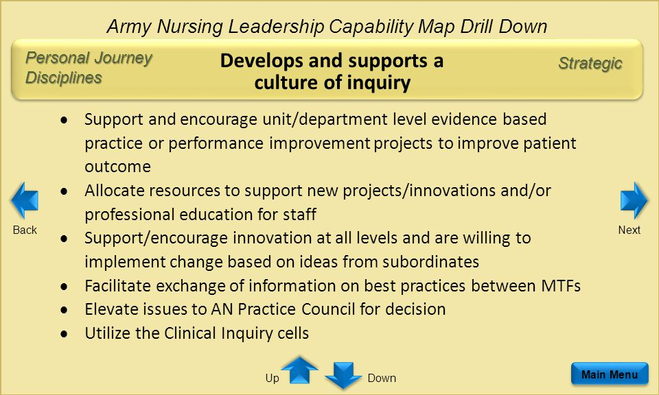 Personal Journey Disciplines Develops and supports a culture of inquiry  Support and encourage unit/department level evidence based practice or performance improvement projects to improve patient outcome  Allocate resources to support new projects/innovations and/or professional education for staff  Support/encourage innovation at all levels and are willing to implement change based on ideas from subordinates  Facilitate exchange of information on best practices between MTFs  Elevate issues to AN Practice Council for decision  Utilize the Clinical Inquiry cells Main Menu Army Nursing Leadership Capability Map Drill Down Strategic BackNext DownUp