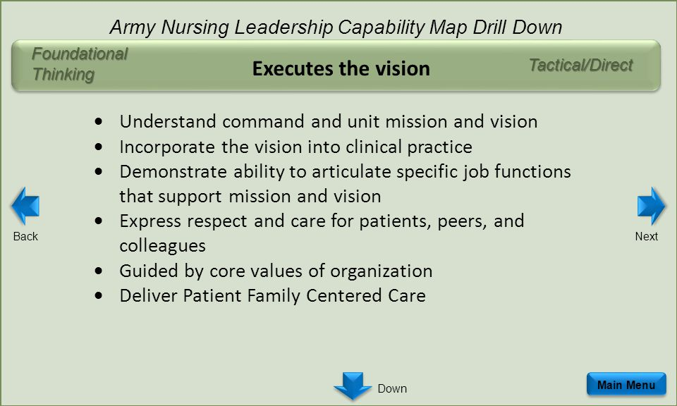 Executes the vision  Understand command and unit mission and vision  Incorporate the vision into clinical practice  Demonstrate ability to articulate specific job functions that support mission and vision  Express respect and care for patients, peers, and colleagues  Guided by core values of organization  Deliver Patient Family Centered Care Tactical/Direct Main Menu Army Nursing Leadership Capability Map Drill Down Foundational Thinking BackNext Down