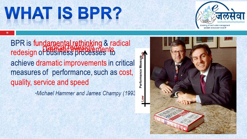 18 BPR is fundamental rethinking & radical redesign of business processes to achieve dramatic improvements in critical measures of performance, such a