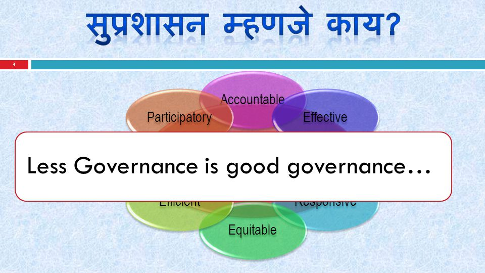 4 Good Governance Accountable Effective Responsive Equitable Efficient Participatory Less Governance is good governance…