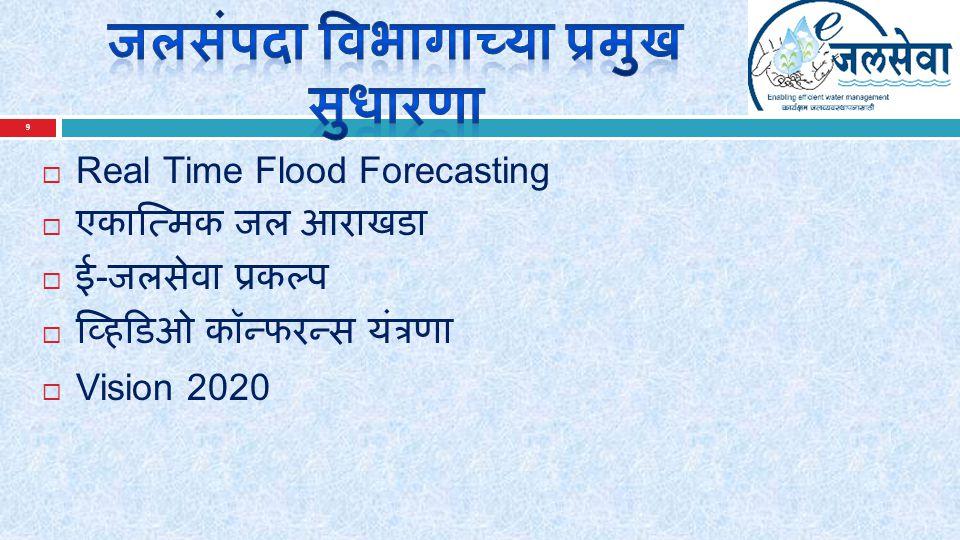 9  Real Time Flood Forecasting  एकात्मिक जल आराखडा  ई - जलसेवा प्रकल्प  व्हिडिओ कॉन्फरन्स यंत्रणा  Vision 2020