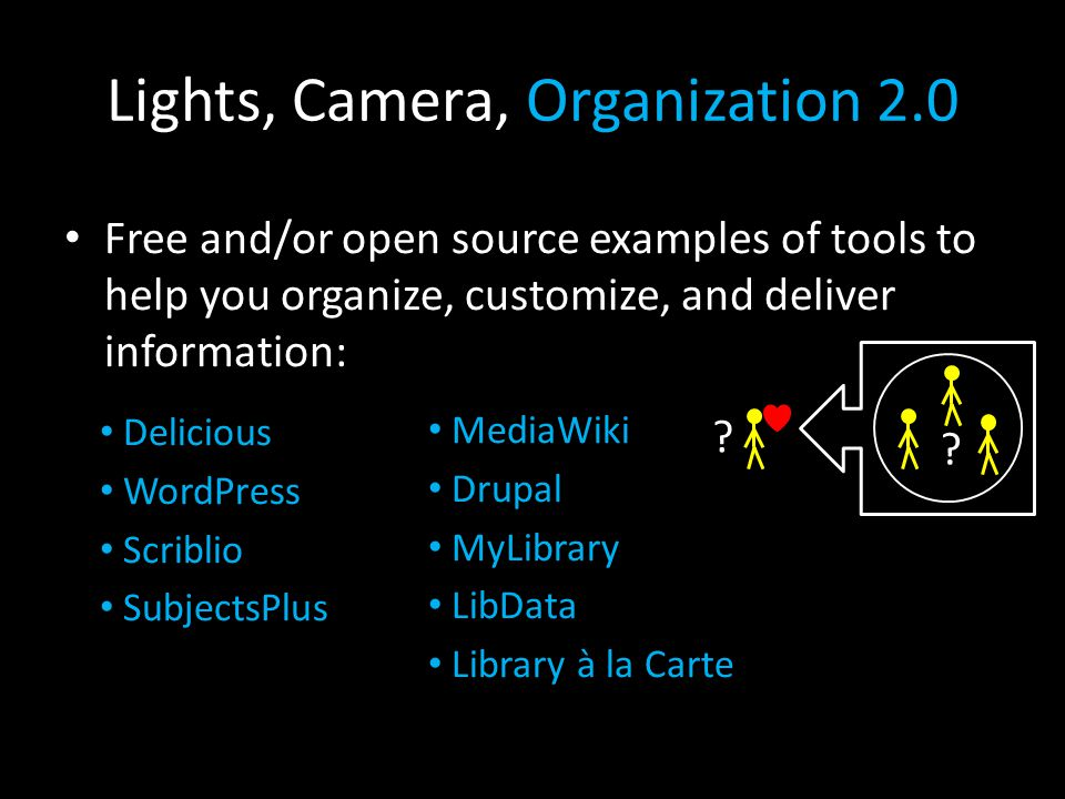 Lights, Camera, Organization 2.0 Free and/or open source examples of tools to help you organize, customize, and deliver information: .