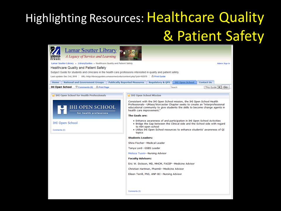 Highlighting Resources: Healthcare Quality & Patient Safety