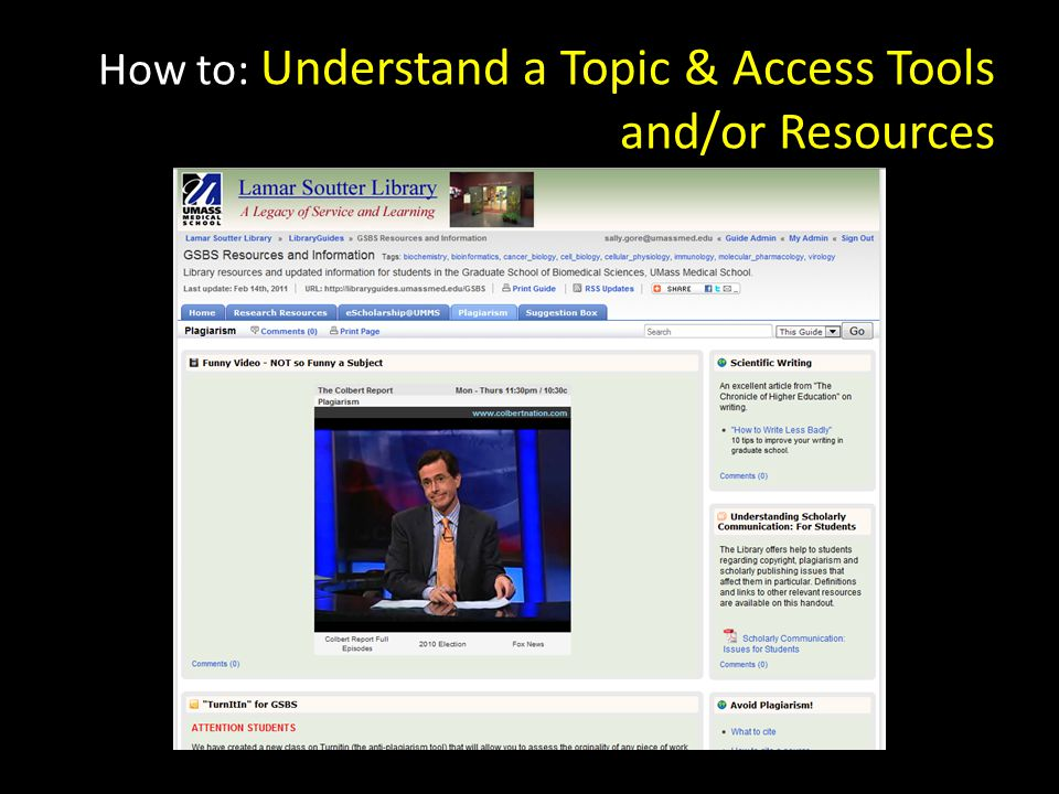 How to: Understand a Topic & Access Tools and/or Resources