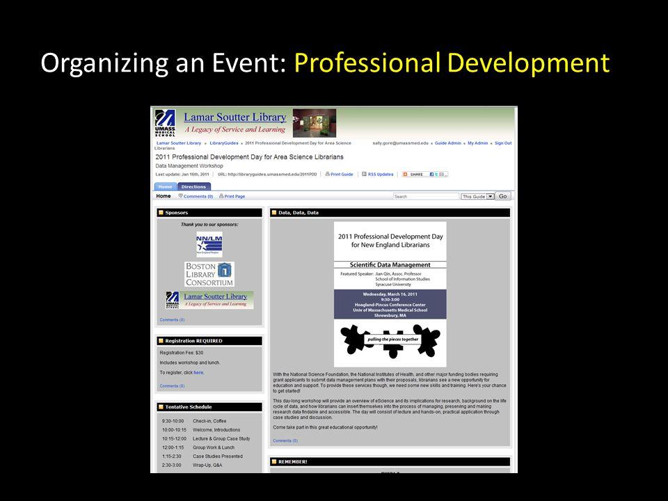 Organizing an Event: Professional Development