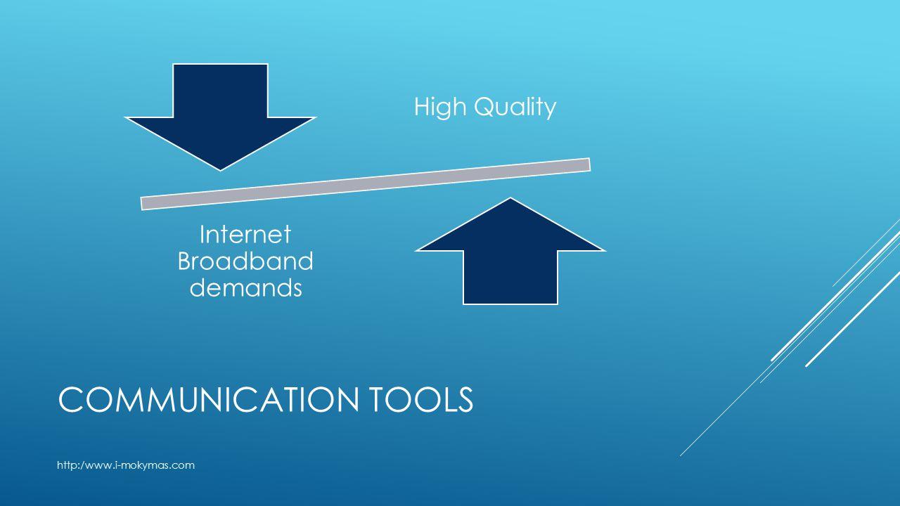 COMMUNICATION TOOLS http:/www.i-mokymas.com High Quality Internet Broadband demands