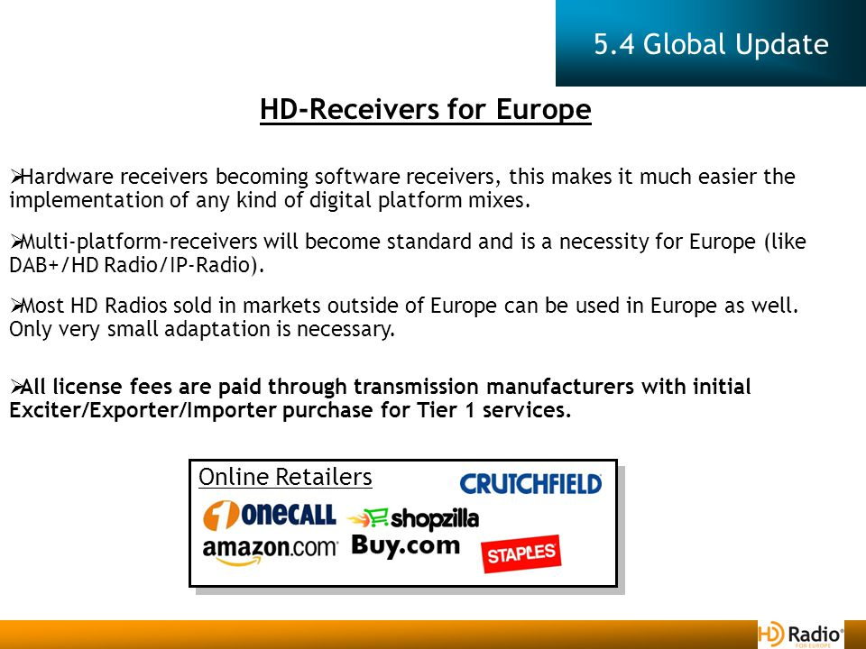 5.4 Global Update HD-Receivers for Europe  Hardware receivers becoming software receivers, this makes it much easier the implementation of any kind of digital platform mixes.