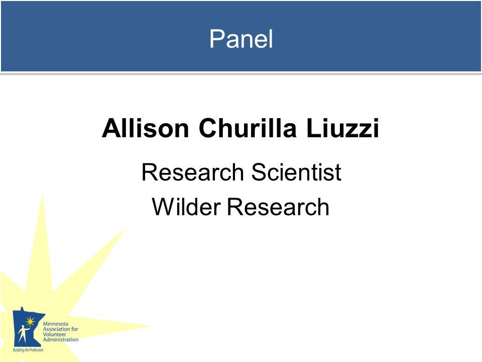 Panel Allison Churilla Liuzzi Research Scientist Wilder Research