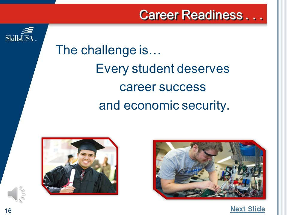 Career Readiness... 15 What excites us most about the next generation.