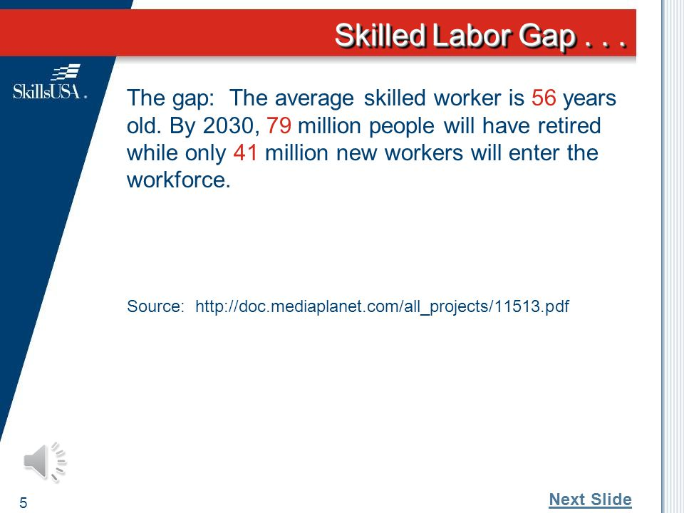 Skilled Labor Gap...The gap: The average skilled worker is 56 years old.