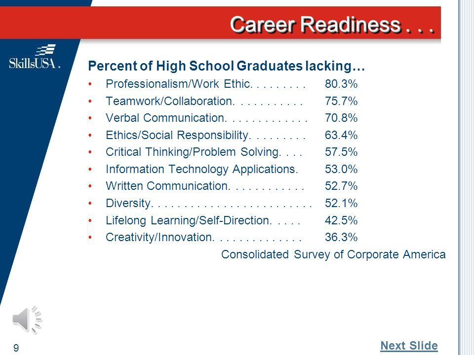 "Career Readiness... 8 An era of ""artificial maturity"" High confidence Abundance of information Low self-esteem Limited experience Dr. Tim Elmore, Grow"