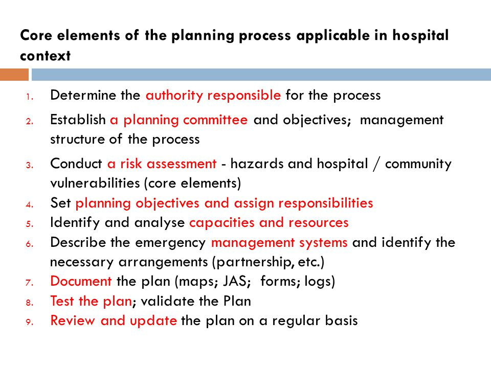 Core elements of the planning process applicable in hospital context 1.