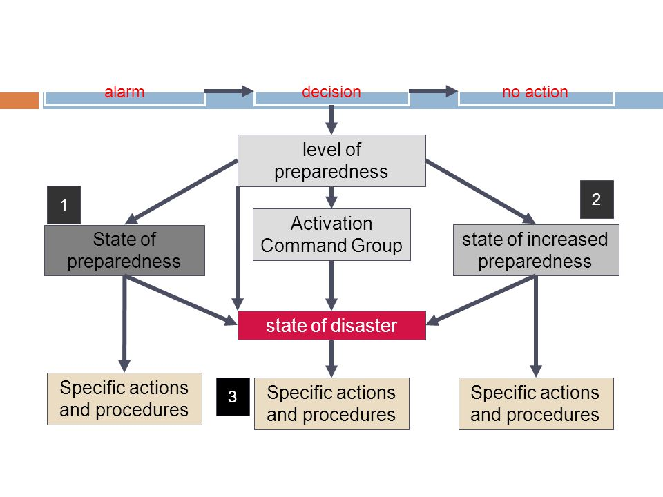 Level of Activation of the Plan level of preparedness State of preparedness state of increased preparedness state of disaster Activation Command Group Specific actions and procedures 1 2 3 alarmdecisionno action Specific actions and procedures