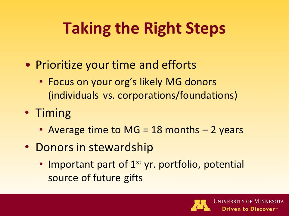 Taking the Right Steps Prioritize your time and efforts Focus on your org's likely MG donors (individuals vs. corporations/foundations) Timing Average