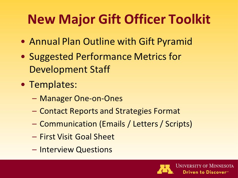 New Major Gift Officer Toolkit Annual Plan Outline with Gift Pyramid Suggested Performance Metrics for Development Staff Templates: –Manager One-on-On