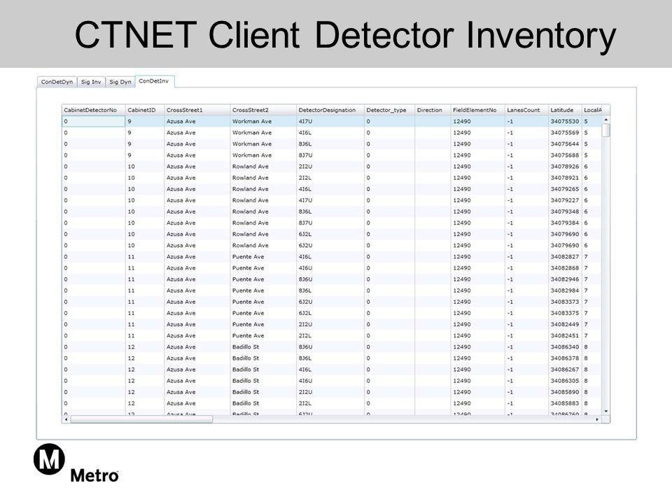 CTNET Client Detector Inventory