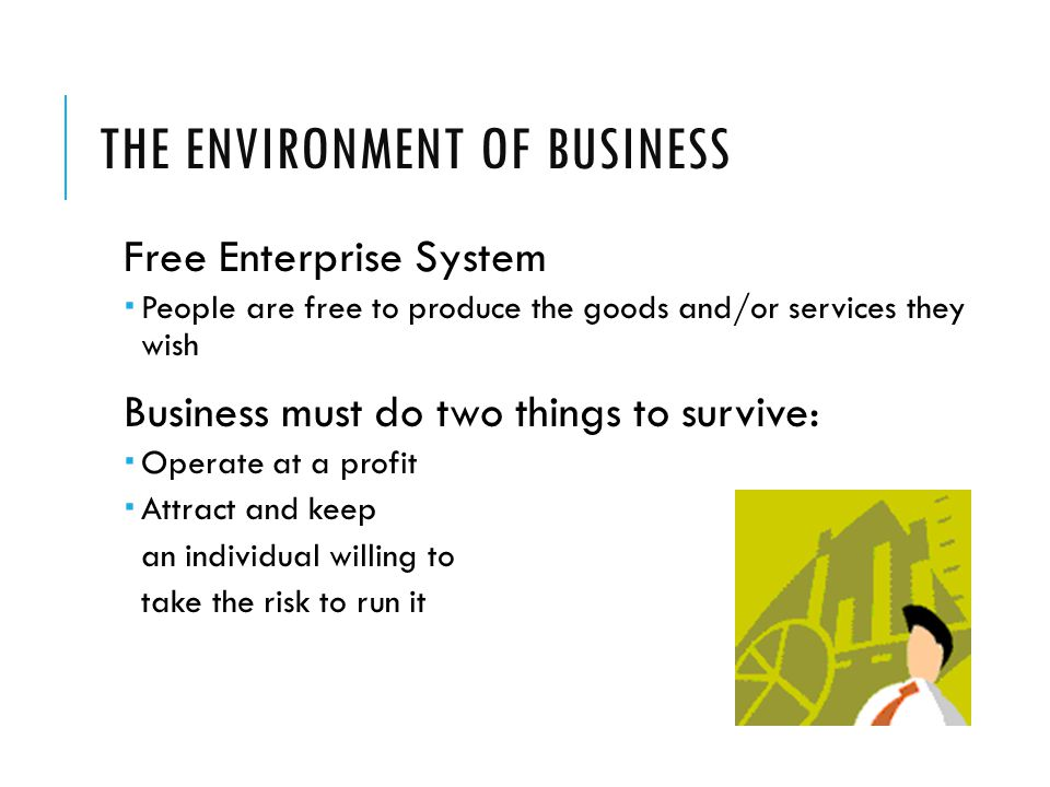 THE ENVIRONMENT OF BUSINESS Free Enterprise System  People are free to produce the goods and/or services they wish Business must do two things to survive:  Operate at a profit  Attract and keep an individual willing to take the risk to run it