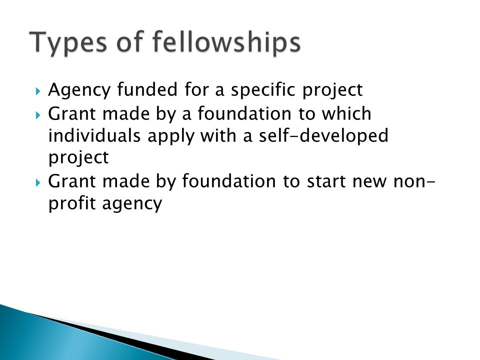  Agency funded for a specific project  Grant made by a foundation to which individuals apply with a self-developed project  Grant made by foundation to start new non- profit agency