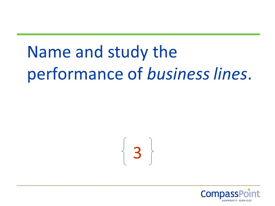 Name and study the performance of business lines. 3