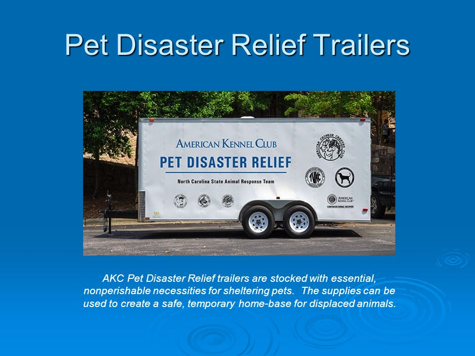 Pet Disaster Relief Trailers AKC Pet Disaster Relief trailers are stocked with essential, nonperishable necessities for sheltering pets. The supplies