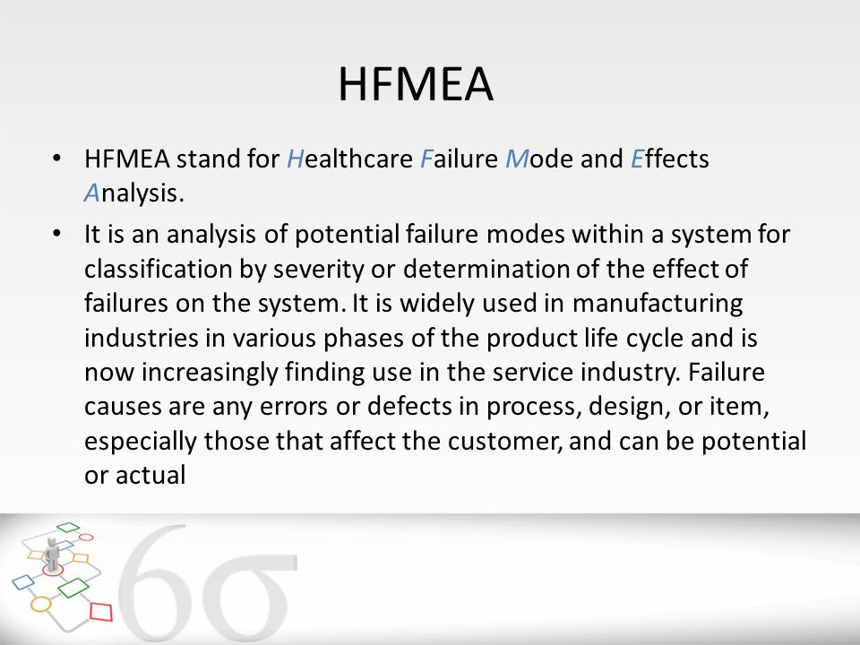 HFMEA HFMEA stand for Healthcare Failure Mode and Effects Analysis.