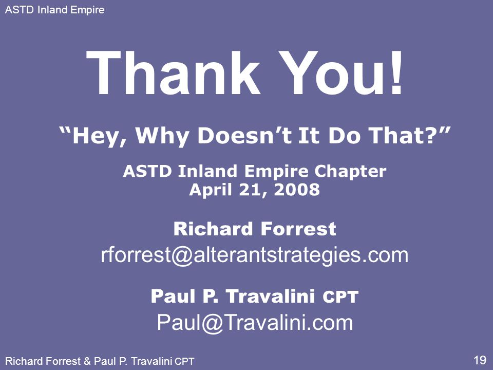 19 ASTD Inland Empire Richard Forrest & Paul P.