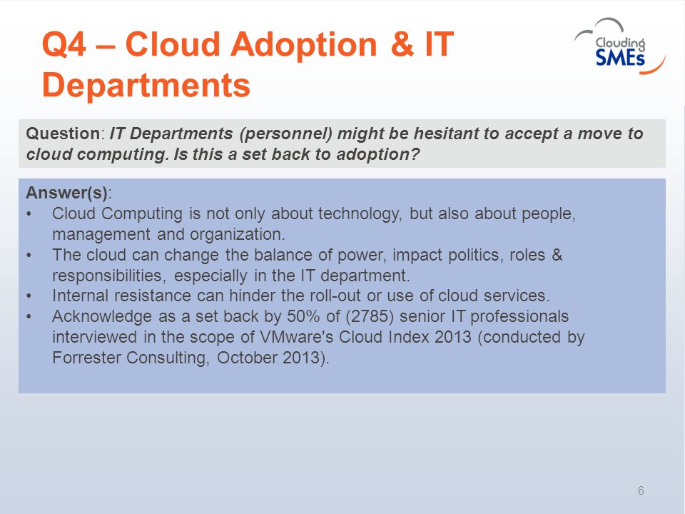 Q4 – Cloud Adoption & IT Departments 6 Question: IT Departments (personnel) might be hesitant to accept a move to cloud computing.